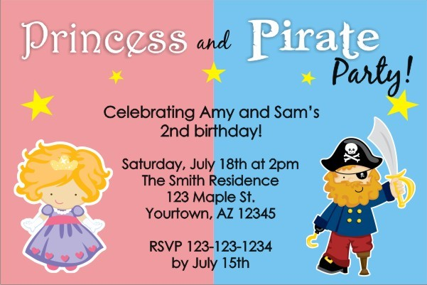 Princess and Pirate Birthday Invitation Personalized Party Invites – Princess and Pirates Party Invitations