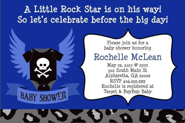 Rock Star Baby Shower Invitation - Blue