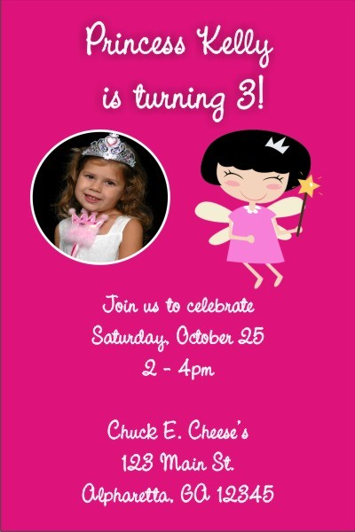 Fairy Princess Photo Invitations