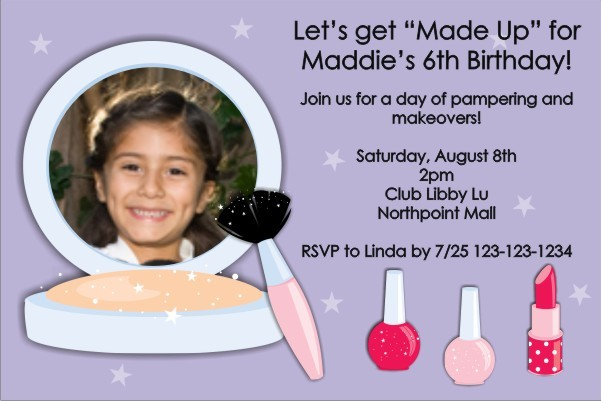 Make-up Makeover Photo Invitation ALL COLORS