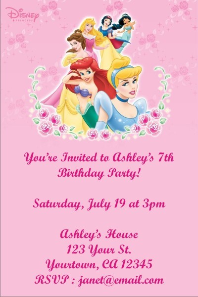 Disney Princess Invitation Click To Personalize