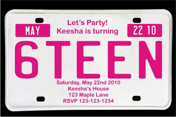 Sweet 16 License Plate Birthday Invitation Magenta Personalized