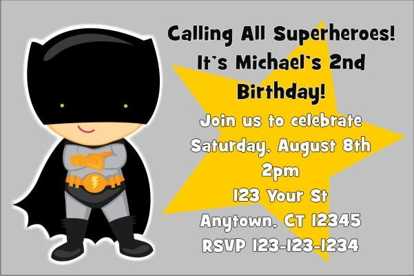 Bat Boy Superhero Invitation