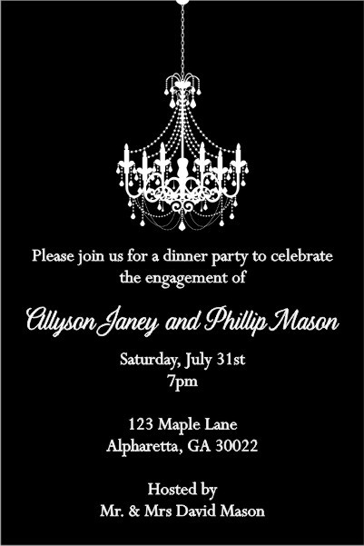 Chandelier Invitation - Black and White