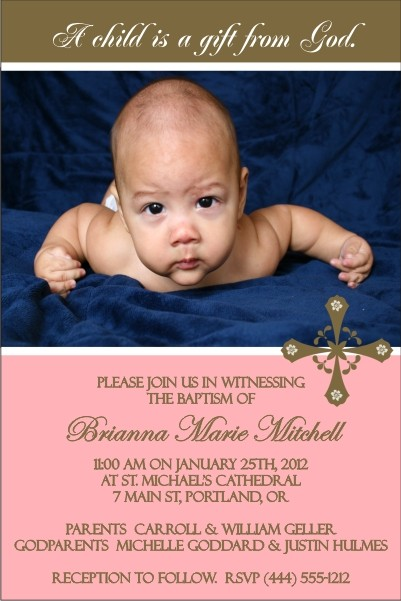 Communion / Baptism Photo Invitation 5 - Pink