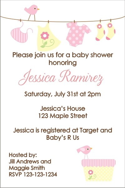 Baby Laundry Clothes Line Baby Shower Invitation - Pink