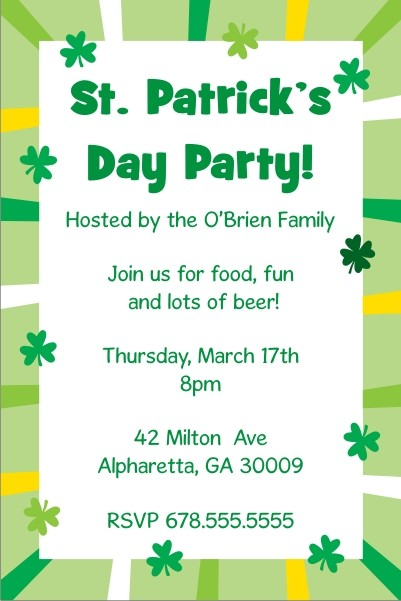 St. Patrick's Day Party Invitation - Shamrock Border