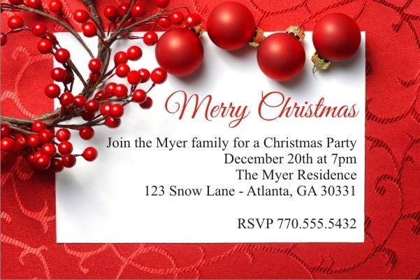 Christmas Berry Holiday Party Invitation