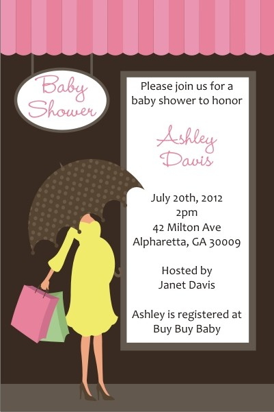shopping mama baby shower invitation