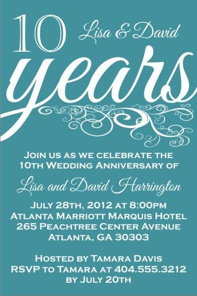 Blissful Years Wedding Anniversary Invitation