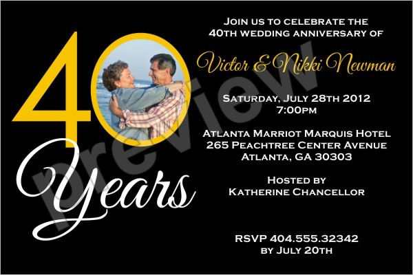 40 Years 40th Wedding Anniversary Photo Invitation Personalized