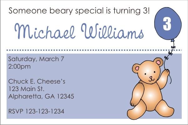 Teddy Bear with Blue Balloon Invitation