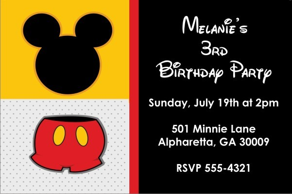 Classic Mouse Invitation (Mickey Mouse)