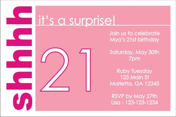 surprise party invitation  pink  personalized party invites
