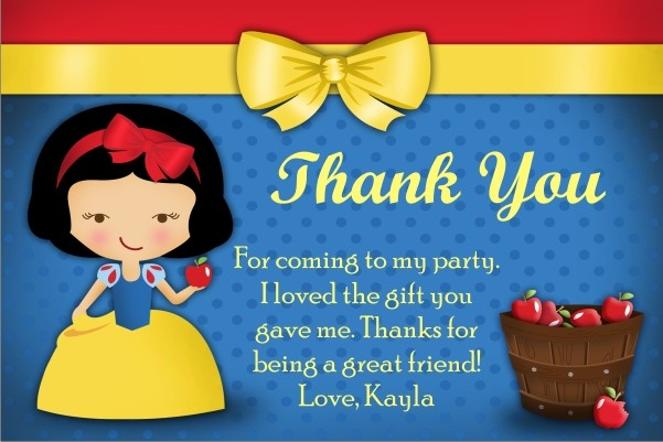 Snow White Thank You Cards Personalized Party Invites – Snow White Party Invitations
