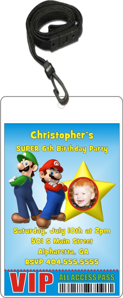 Super Mario Luigi VIP Pass Invitation with Lanyard