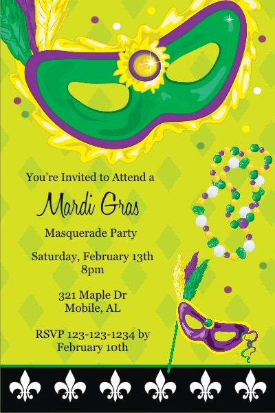 Mardi Gras Mask and Beads Invitation