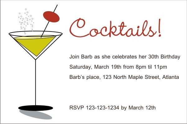 Cocktails Martini Glass Invitation