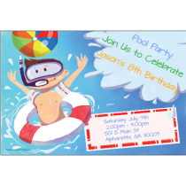 Big Splash Personalized Pool Party Invitation