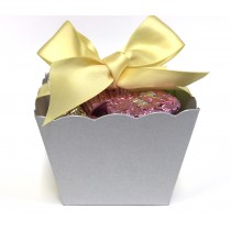 Silver Paper Boxes Filled with Chocolate Peanut Butter Cups - Cute Party Favors - by PrettySweetParty