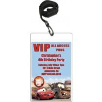 Cars Photo VIP Pass Invitation with Lanyard
