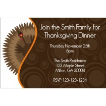 Gobble Gobble Turkey Thanksgiving Dinner Invitation