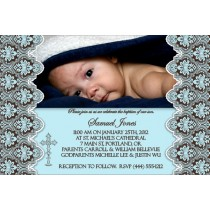Communion / Baptism Photo Invitation 3 - Blue