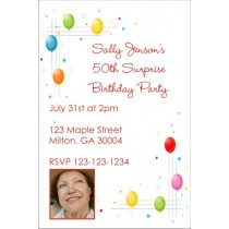Colorful Balloons Invitation with Optional Photo