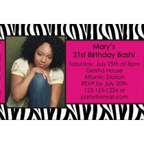 Zebra print personalized photo birthday party invitation