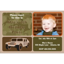 Army Military Humvee Photo Birthday Invitation