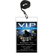 Dance Party VIP pass party invitation blue