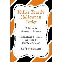 Hallween Stripes Party Invitation