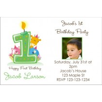 Party Animals 1st (First) Birthday Photo Invitation