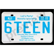sweet 16 party invitation license plate