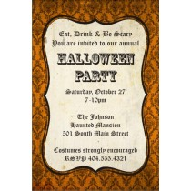 Orange Damask Halloween Party Invitation