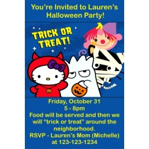 Hello Kitty Halloween Trick or Treat Invitations