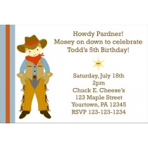 Cowboy Birthday Invitation (Customizable Cowboy)