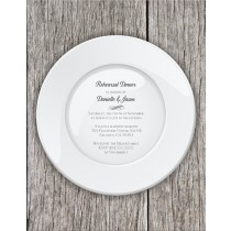 Dinner plate die cut rehearsal dinner party invitation