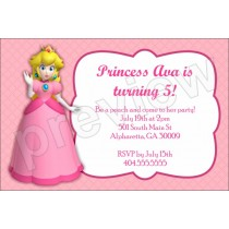 Princess Peach super mario birthday party invitation