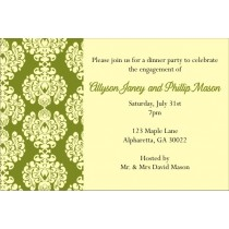 Olive and Cream Damask Invitation