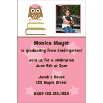 Owl Graduation Photo Invitation - Pink