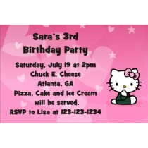 Hello Kitty Invitations - Hearts