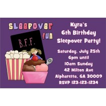 Slumber Party / Sleepover Invitation 2 - Choose a background color