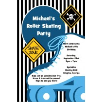 Boy Skating Party Birthday Invitation