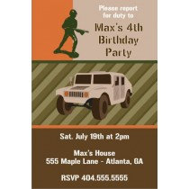 Army Military Humvee Birthday Invitation
