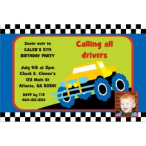 Monster Truck Invitation with Optional Photo - Checkered Border