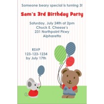 Cute Bear and Mouse Party Invitation