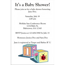 Baby Blocks Invitations (Black Text)