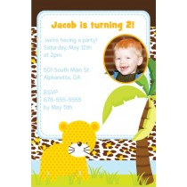 Jungle Fun Photo Invitation  - Leopard