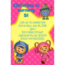 team umizoomi party invitation pink